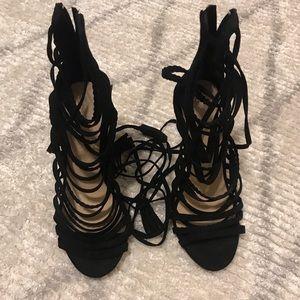 Strap High suede heels